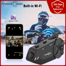 Freedconn R1 Plus Wifi Recorder Bluetooth 5,0 Motorrad Gruppe Intercom HD 1080P Video FM 6 Fahrer Helm Sprech Headset DVR