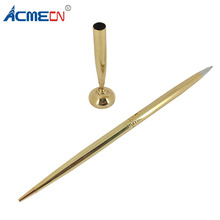 ACMECN Brass Ball Pen with Base Counter Stand Metal Engraving Drafting Gold Sets Finance Bank Table