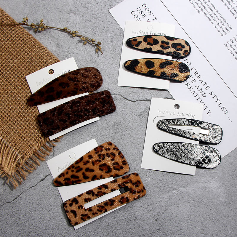 JUST FEEL 1 Set Snake Print Leather Hair Clips For Women Hair Barrette Punk Leopard Hairpins Snap Barrettes Styling Accessories