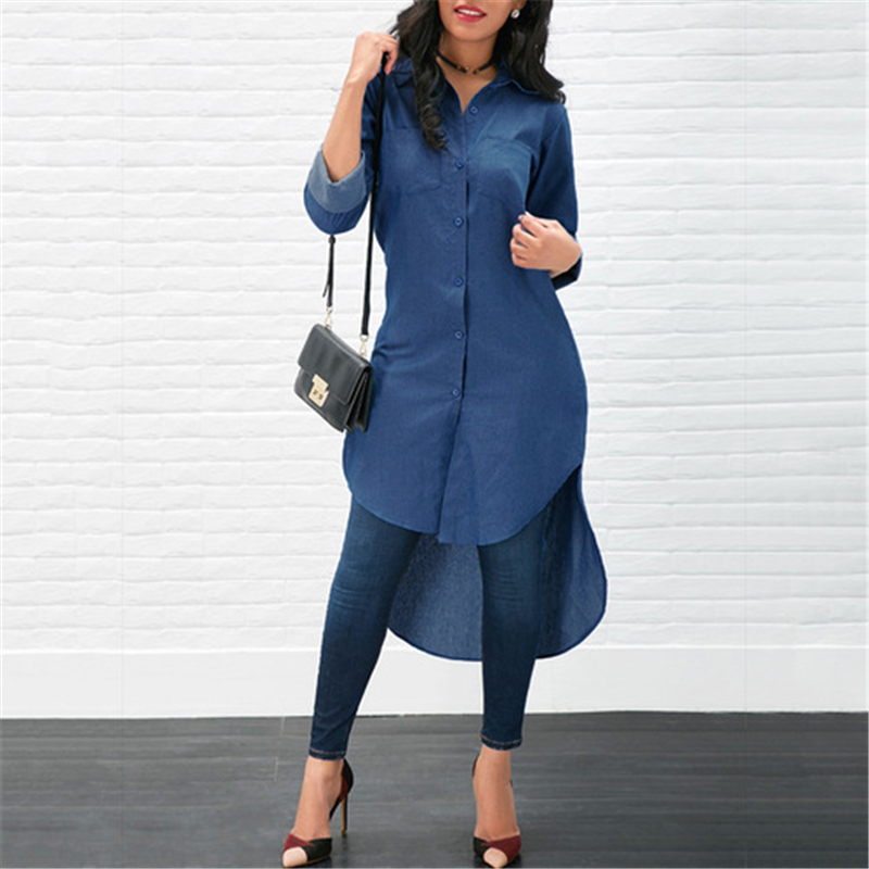 Irregular Blouse Women Long Sleeve Turn Down Collar shirt Women Denim Long Shirt fashion design simple woman clothing ropa mujer