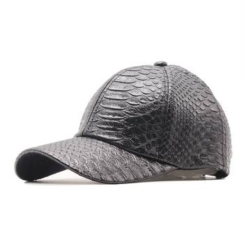 Fashion High Quality PU Snake Leather Baseball Caps For Men Women Solid Black Faux Cap Casual Snapback Wholesale