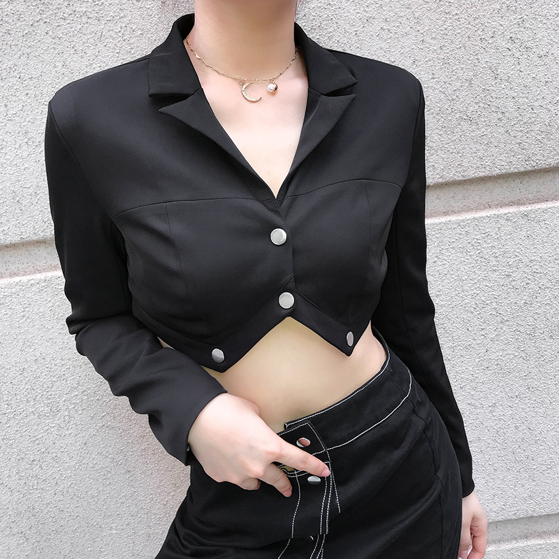 Cropped Jacket Coats Outerwear Long-Sleeve Women Autumn Fashion Feminino Casaco Black