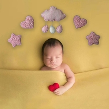 3/5 Pcs DIY Handmade Baby Wool Felt Clouds Stars Love Ornaments Home Party Decorations Newborn Photography Props