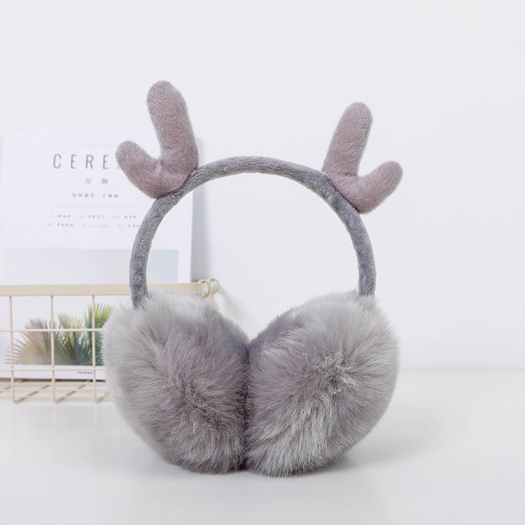 2019 New Winter Antler Earmuffs Warm Plush Warm Earmuffs Men And Women Outdoor Ear Bag Imitation Rabbit Hair Cute Ear