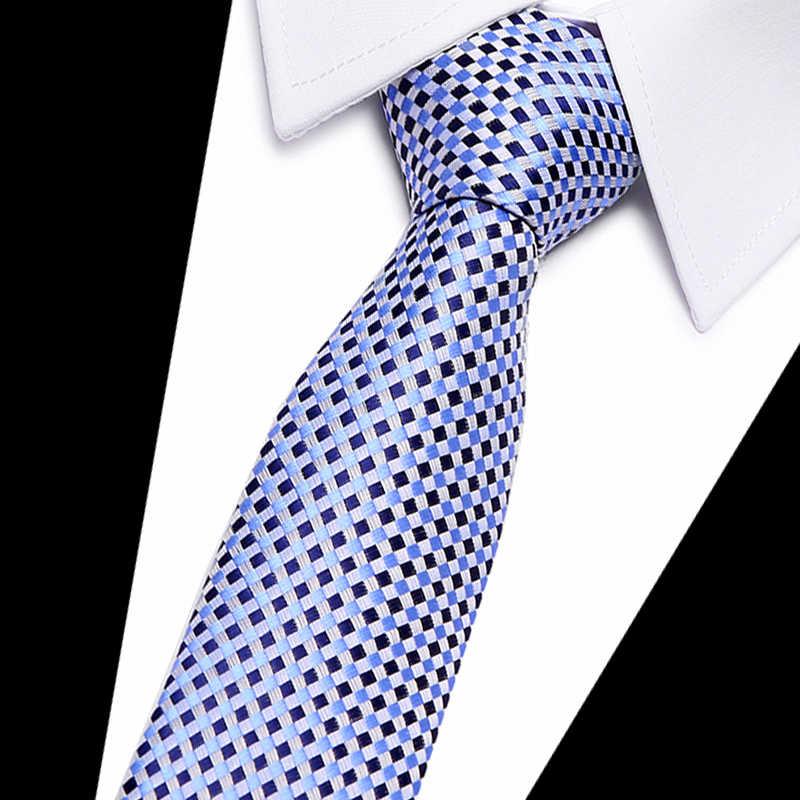 100% 실크 넥타이 스키니 7.5 cm 꽃 넥타이 남성용 하이 패션 격자 무늬 넥타이 슬림 코튼 넥타이 망 2020 gravatas