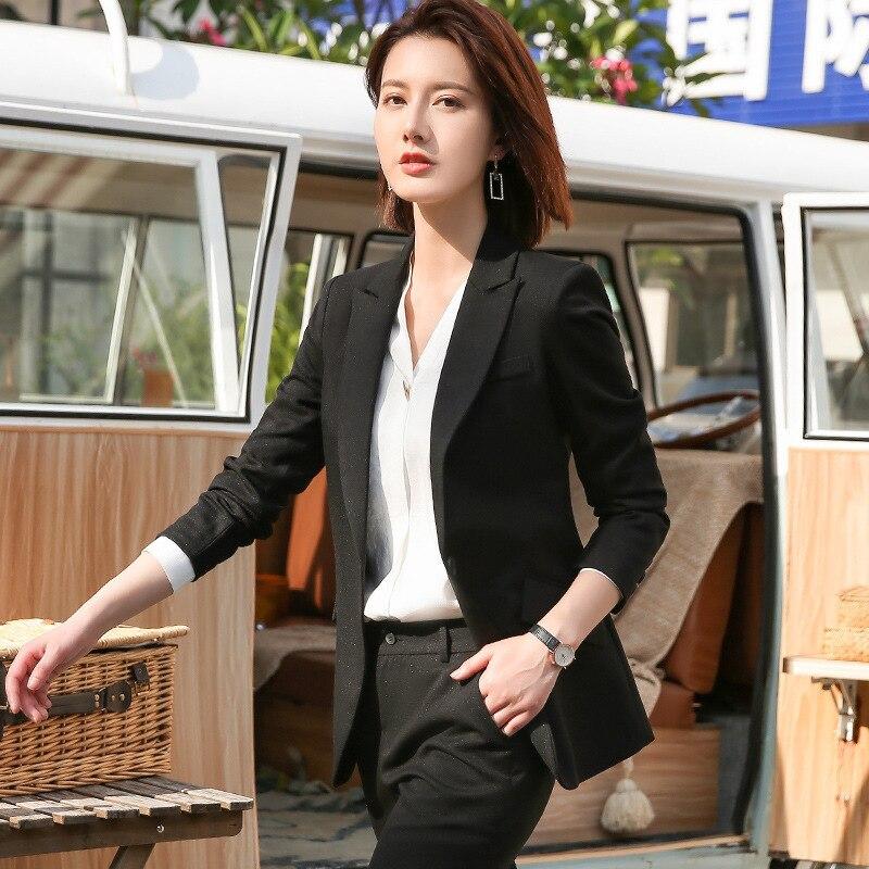 High quality professional suit 2019 new temperament solid color office pants set Slim fit women's suits two-piece Skirt suit