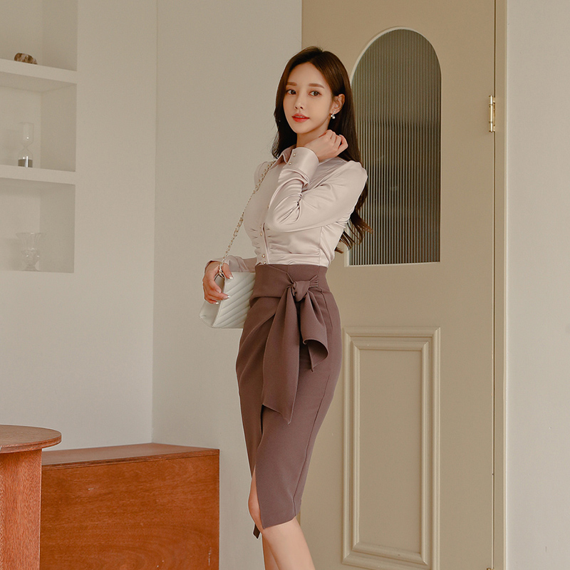 Office Wear 2 Pieces Set Turn-down Collar Blouses & Lace Up Side Split Pencil Skirt Suits Female 2019 Elegant Women Set