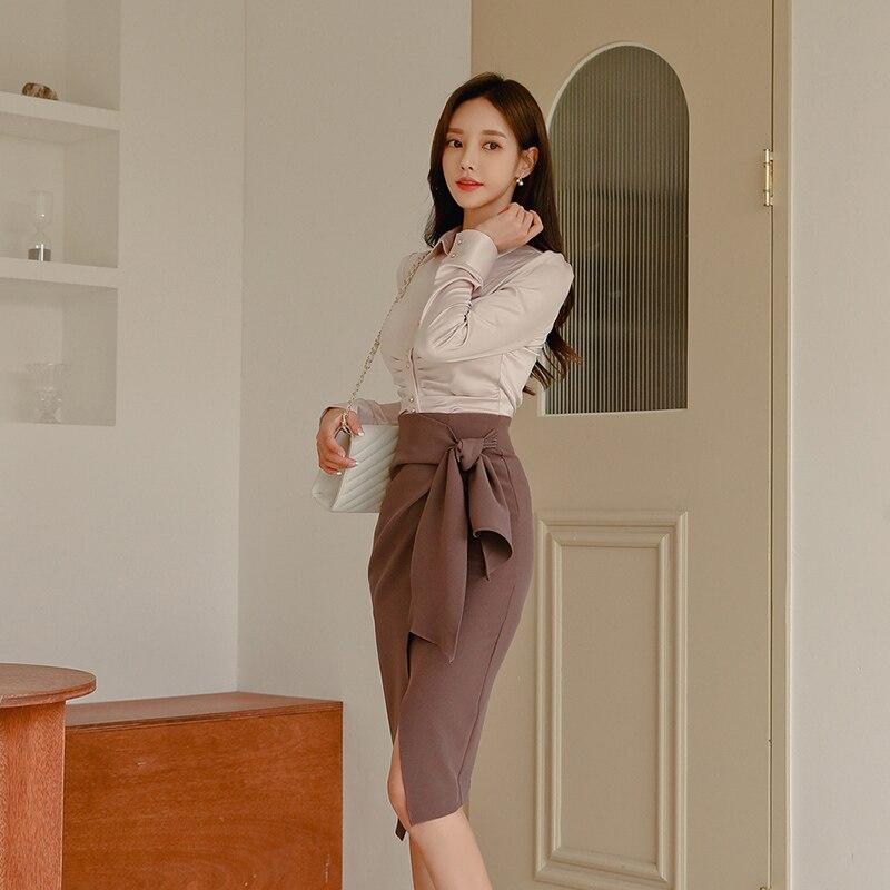 Office Wear 2 Pieces Set Turn-down Collar Blouses & Lace Up Side Split Pencil Skirt Suits Female 2019 Elegant Women Set
