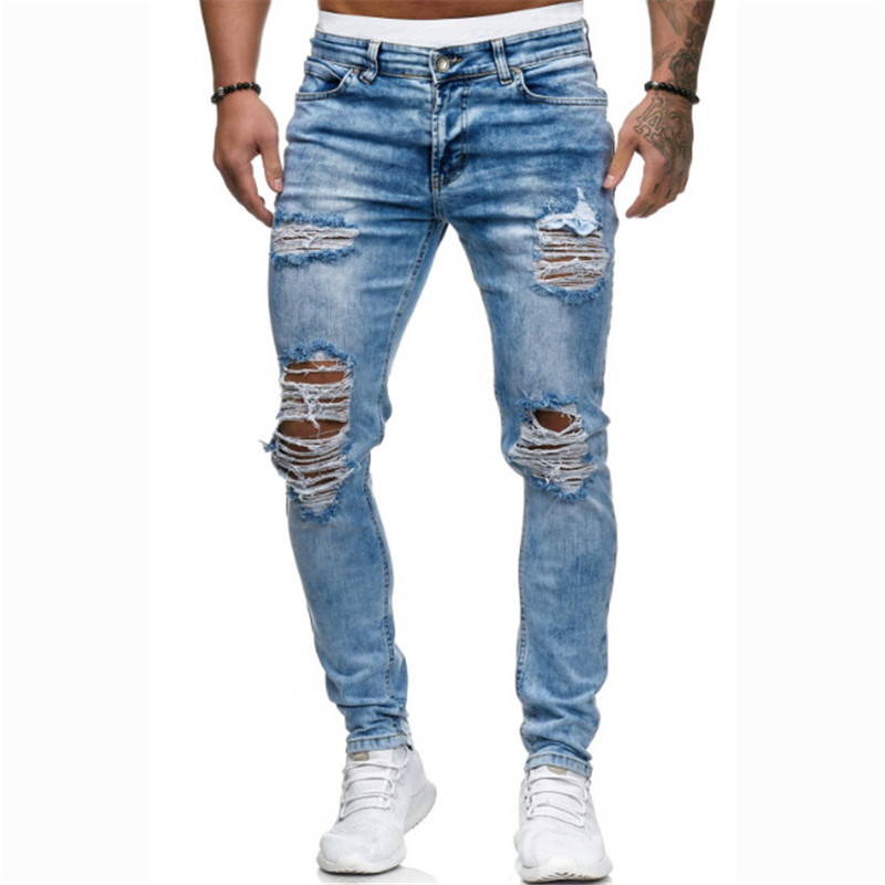 MORUANCLE Men's Hi Street Destroyed Jeans Pants With Holes Stretch Ripped Denim Trousers Fashion Streetwear Torn Jeans S-XXXL