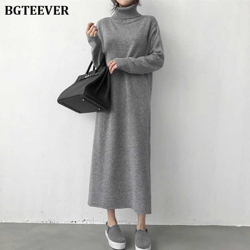 BGTEEVER утепленное платье с высоким воротником на осень и зиму женское платье-свитер вязаное длинное платье женское платье с длинным рукавом Джемперы платье 2019