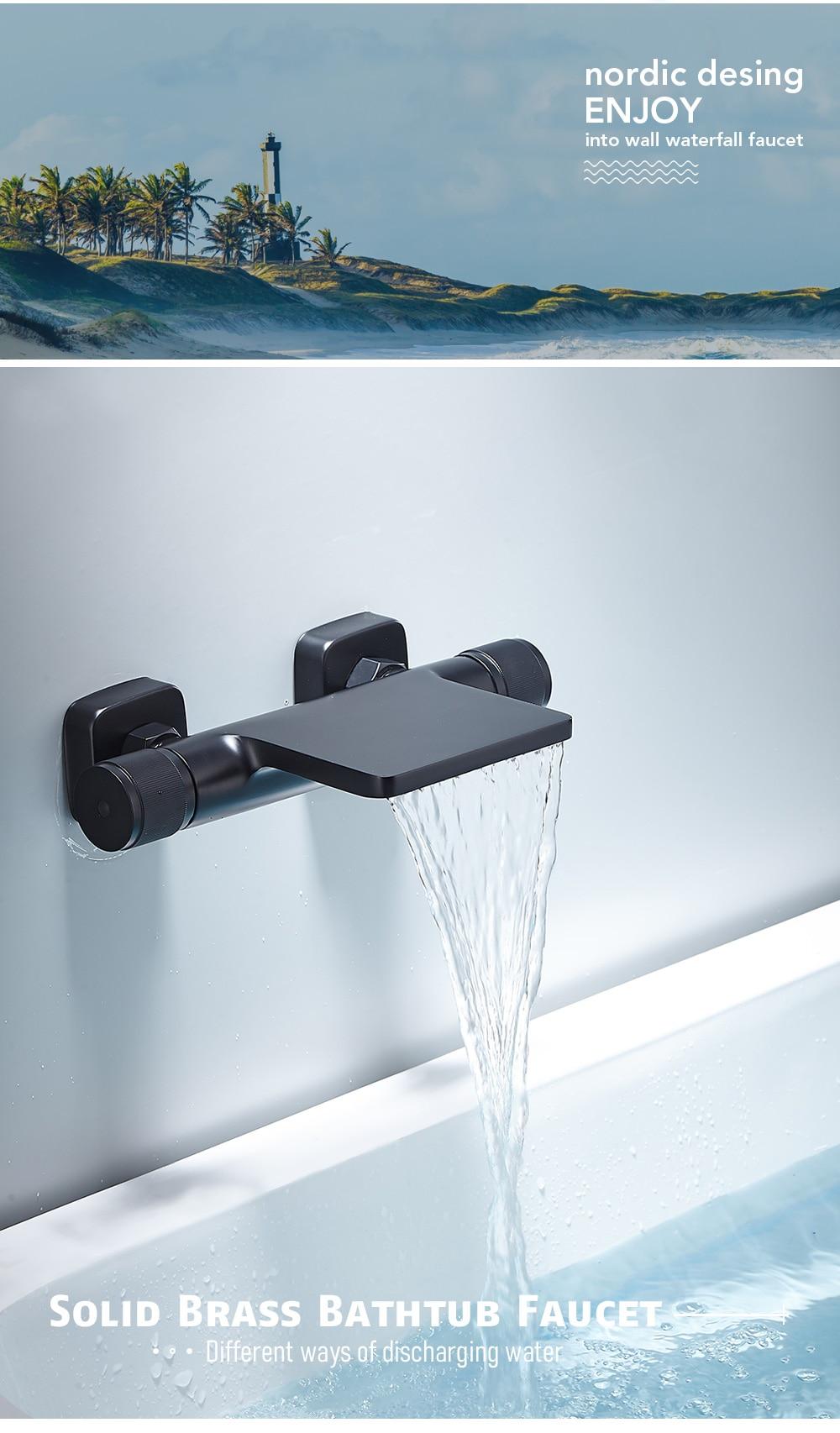 H01003c8fdf6a488d9ce6da703ead1f03o Bathtub Shower Faucet Mixer Solid Brass Black Wall Mount Shower Faucet With Hand Shower Bathroom Waterfall Bathub Faucet WB1620