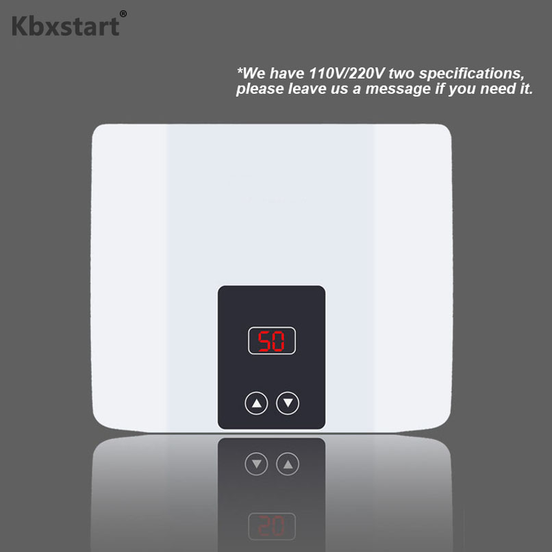 Electric Tankless Water Heater 5500W for Hot Water Heating Kitchen Bathroom Shower Wall or Floor Mounted Can Adjust Temperature image