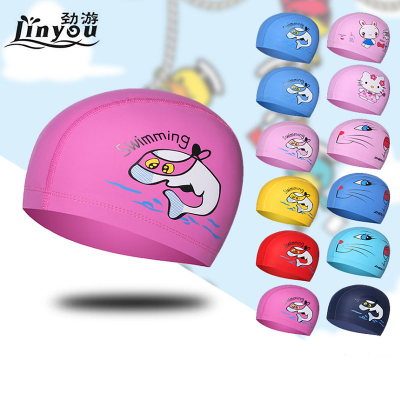 Swimming Pool Cap Children Cartoon Dolphin Waterproof Boys And Girls Ear Plug Protect Diving Hat Kids Swim Caps