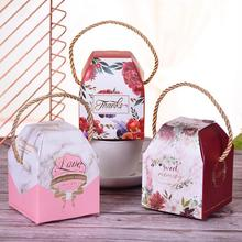 20pcs/lot Creative Wedding Supplies Portable Hand Candy Box High Quality Paper Color Birthday Gift
