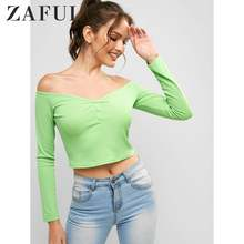 ZAFUL Off Shoulder Long Sleeves Neon Crop Tee Women Sexy T-Shirts Solid Color Streetwear Tops Button Long Sleeve Tees 2019(China)