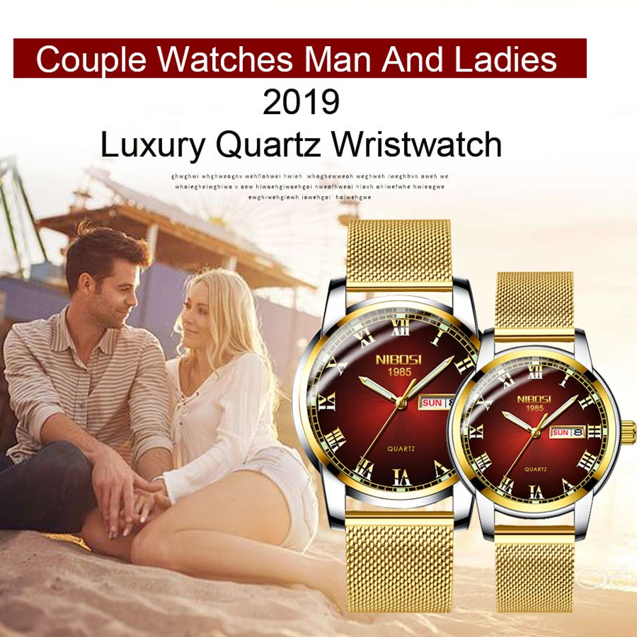 NIBOSI Gold Mens Women Watches Unique Design Luxury Stainless Steel Mesh Strap Men's Fashion Casual Date Watch Relogio Feminino
