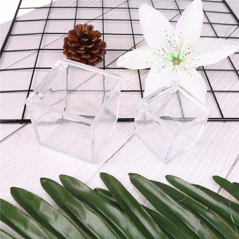 حار 1 قطعة خاتم الزواج صندوق صندوق مجوهرات واضح البلاستيك الشفاف يمكن فتح لصالح صناديق استحمام الطفل صالح Sedding تذكارية مربع