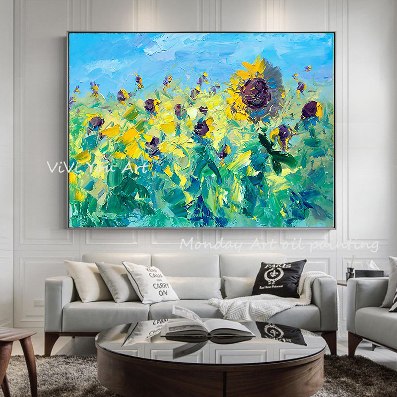 100-Hand-Painted-Abstract-Sunflowers-Art-Painting-On-Canvas-Wall-Art-Wall-Adornment-Pictures-Painting-For