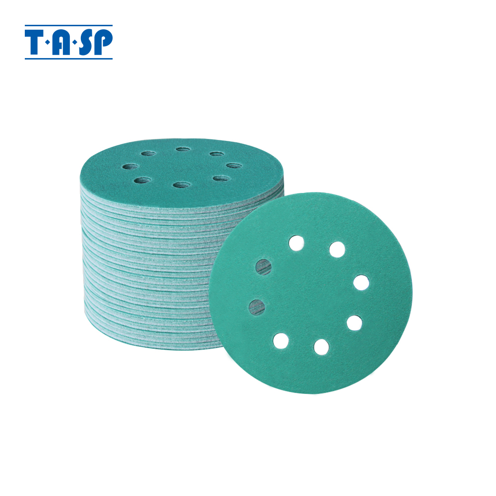 TASP 100pcs 125mm Wet And Dry Sandpaper 5'' Waterproof 8 Hole Anti Clog Sanding Discs 60-400 Grit Hook & Loop Film Backing