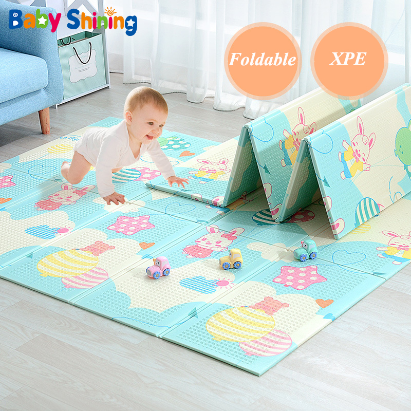 Baby Shining Baby Play Mat 150X200CM/59X79IN Baby Pad 1CM Thickness Baby Crawling Mat Cartoon Foldable Anti-skid Mat Foam Rug