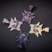 цена на Colorful.gem Pendant Necklace Mens Hip Hop Rapper Mask Gengar Pokemon Copper Crystal Pendants Iced Out Chain Gems Trendy Jewelry