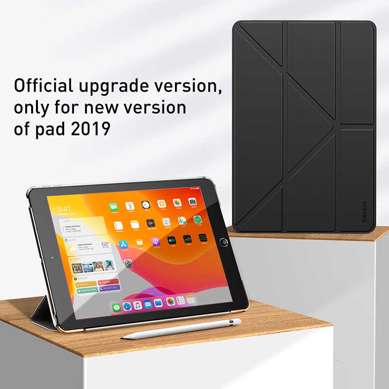 Baseus מתקפל מקרה עבור iPad 10.2 אינץ 2019 Coque חכם אוטומטי שינה השכמה עור מפוצל חזרה תיק כיסוי עבור Ipad 7 2019 Funda קאפה