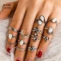 Tocona 12 teile/sätze Kristall Opeal Stein Ringe Vintage Mond Wasser Tropfen Elefanten Blätter Geometrische Schmuck für Frauen Zubehör