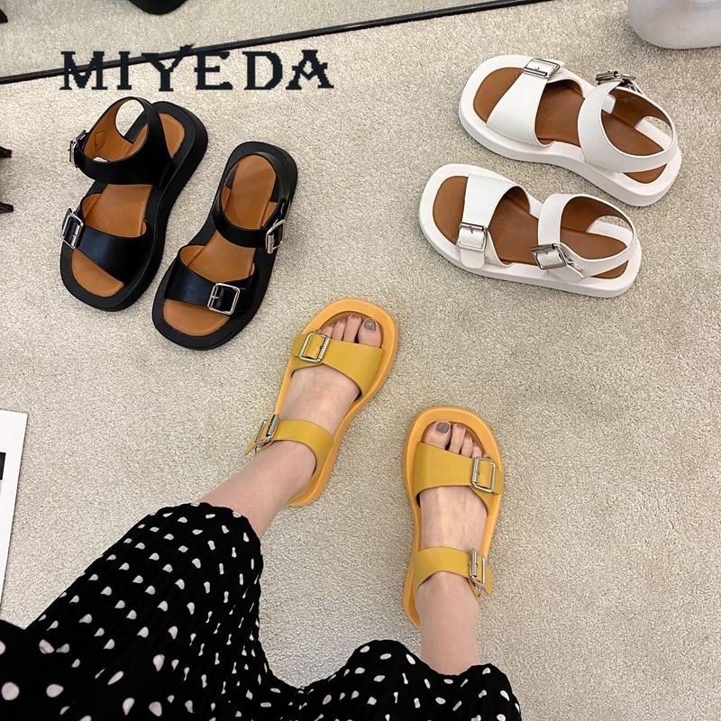 MIYEDA Wedges Platform Summer Shoes for Women Flats Metal Decoration Casual Modern Female Sandals Punk 2021 Fashion Woman Shoe