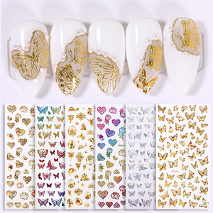 1Pcs Gold Bronzing Christmas Snowflake 3D Nail Stickers Laser Effect Butterfly Transfer Slider Stickers DIY Nail Tips
