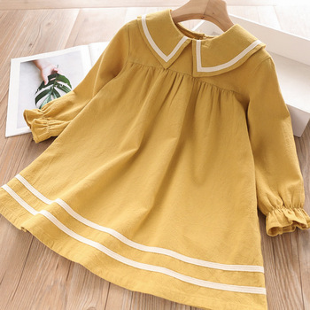 Girls Dress Autumn Kids Dresses Long Sleeve Princess Dress for Girl Kids Party Dress Spring Navy Preppy Style Dress 3 7 Years tanguoant spring and summer girl dress black and gray irregular hem dress long sleeves solid dress for kids