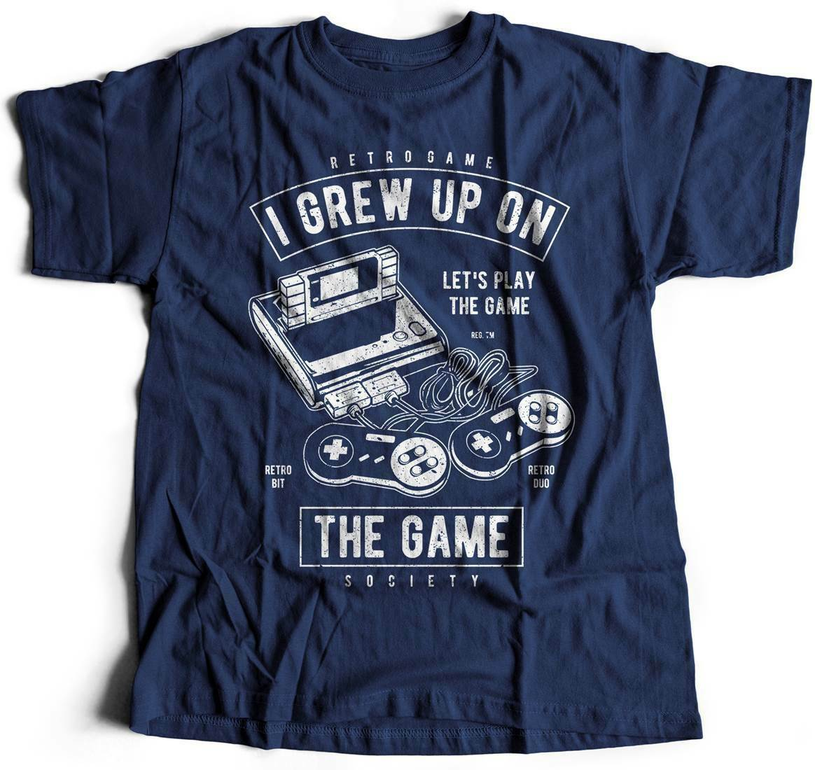 Grew Up On The Game Geek T-Shirt Gamer Retro Club Legend Arcade Play Video A679 image