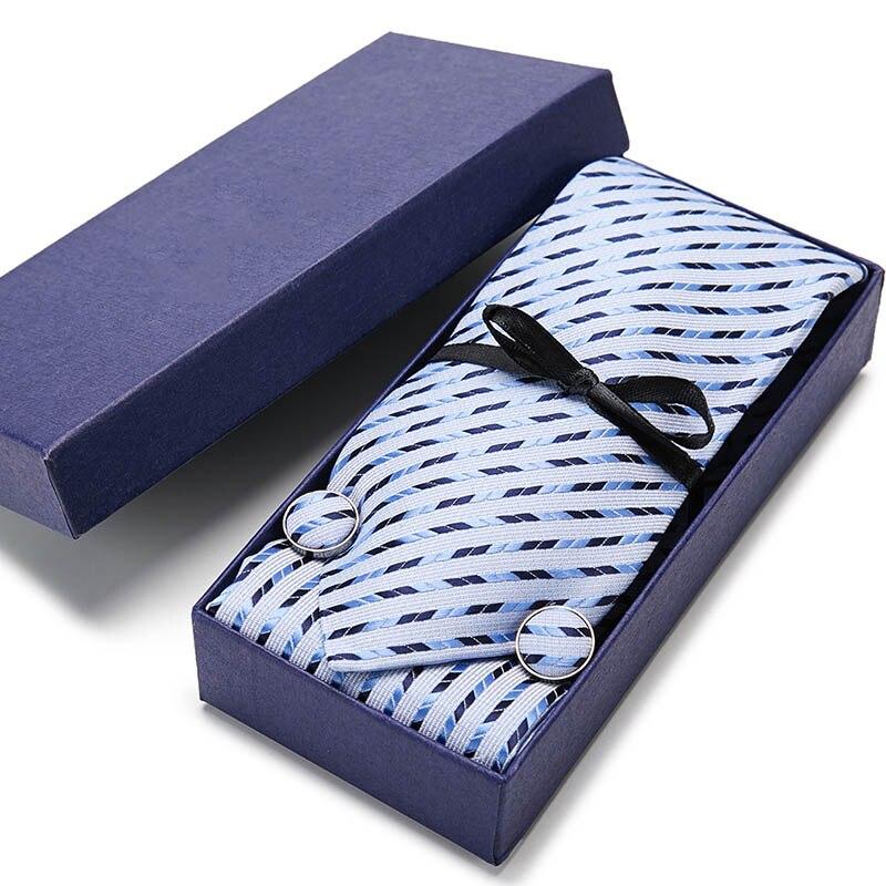 New Men Tie Necktie Blue Plaid 100% Silk Tie Pocket Square Handkerchief Cufflinks Tie Set Gift Box Formal Wedding Party