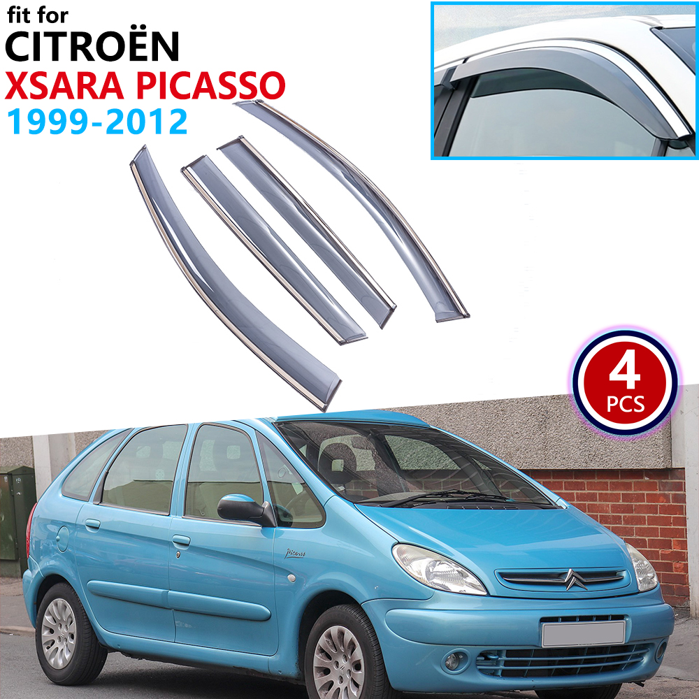 For Citroen Xsara Picasso 1999-2012 Window Visor Vent Awnings Rain Guard Deflector Cover Accessories 2000 2001 2004 2006 2010