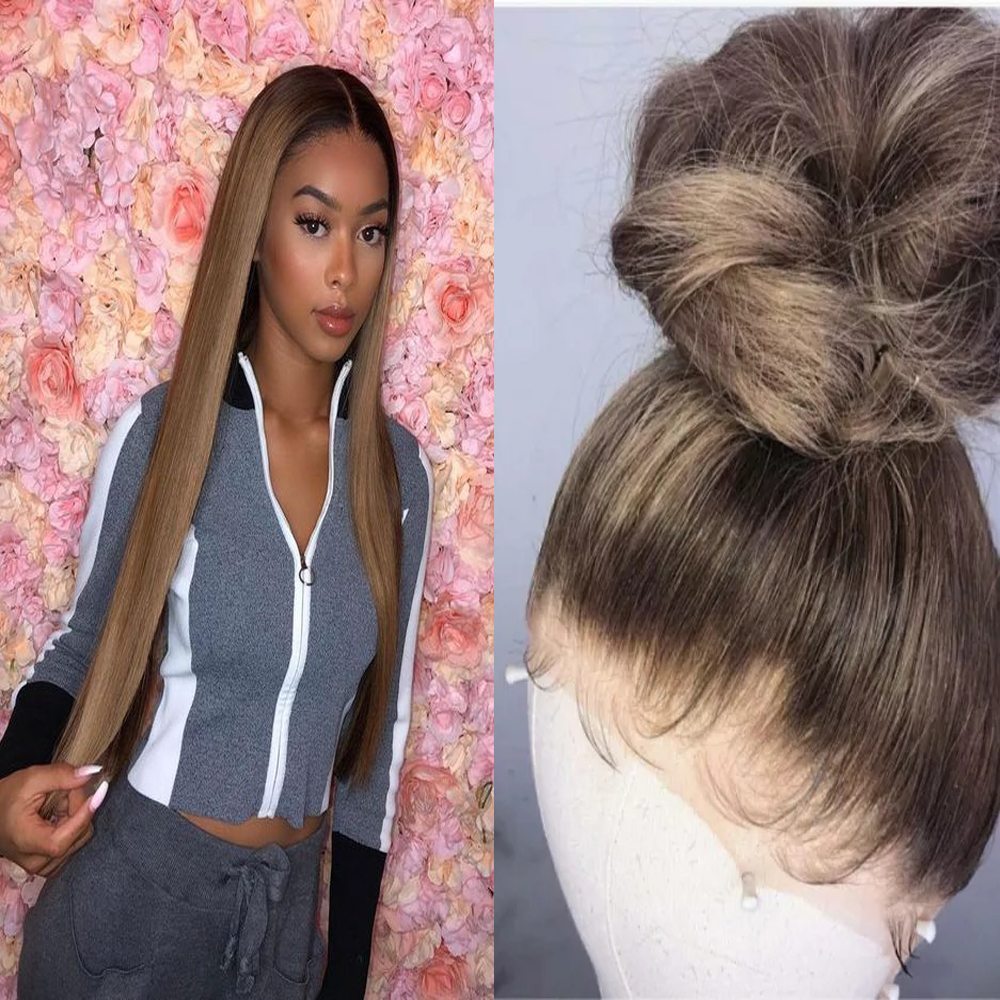Highlight Color 4X4 Silk Base Full Lace Human Hair Wig PrePlucked Silky Blonde Straight Silk Top Wig Indina Remy Hair For Women