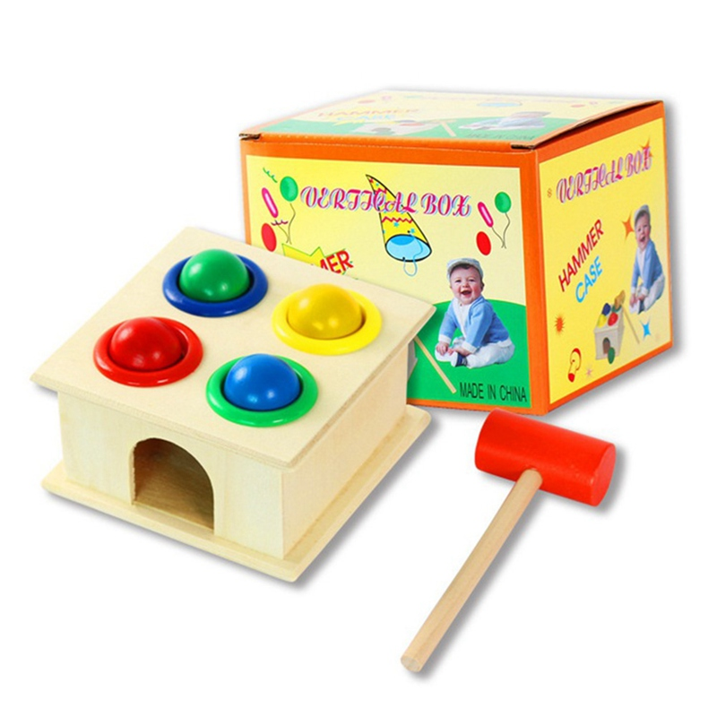 Wooden Matching Color Piling Hand Hammering Ball Box Toy Parent-child Interactive Toys Early Learning Educational Baby Toys