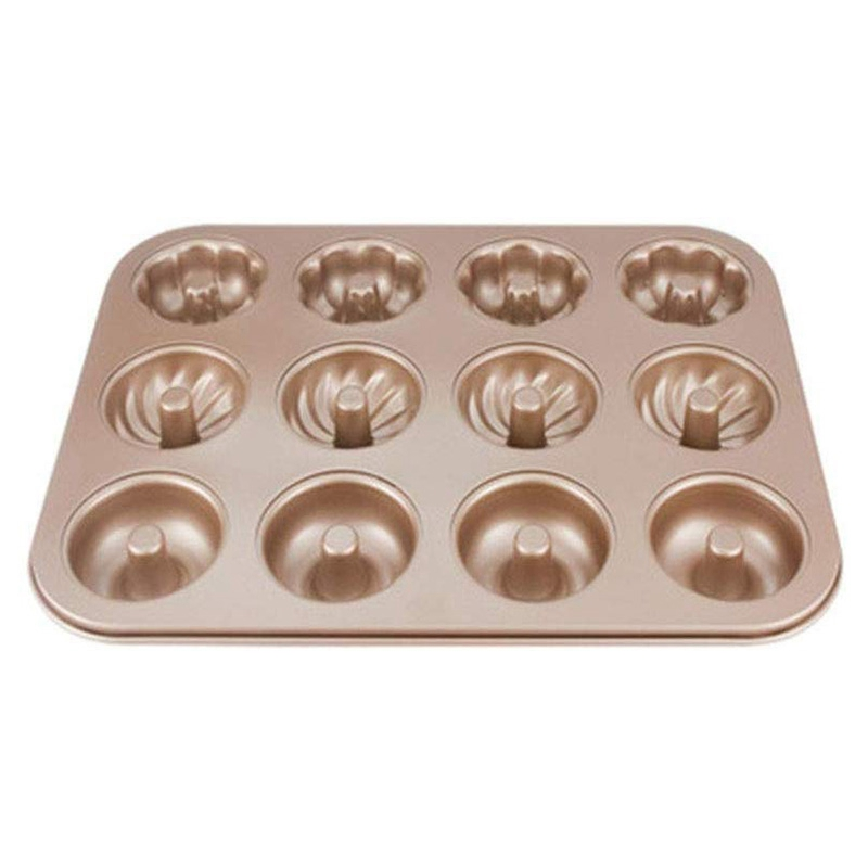 12-Cups Mini Donut Pan, Non-Stick Fluted Tube Donut Cake Mold, Doughnuts Biscuit Cake Baking Tray Maker Pan