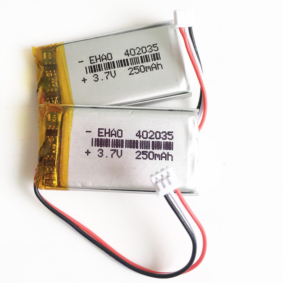 wholesale 3.7V 250mAh lithium polymer rechargeable <font><b>battery</b></font> <font><b>402035</b></font> JST 1.25mm 3pin plug Lipo cells for MP3 GPS bluetooth headset image