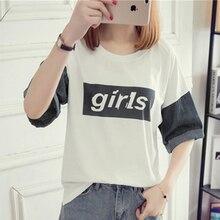 Summer T-Shirts Women New Korean Version Denim Stitching Letter Printting Half-Sleeves T-Shirt Casual Slim Wild T-Shirt Female цена