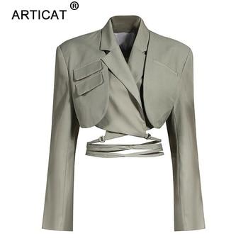 Articat Gray Double Layer Bandage Slim Blazer Women Long Sleeve Pocket Short Jacket Female Notched Collar Outwear Tops 2021 New