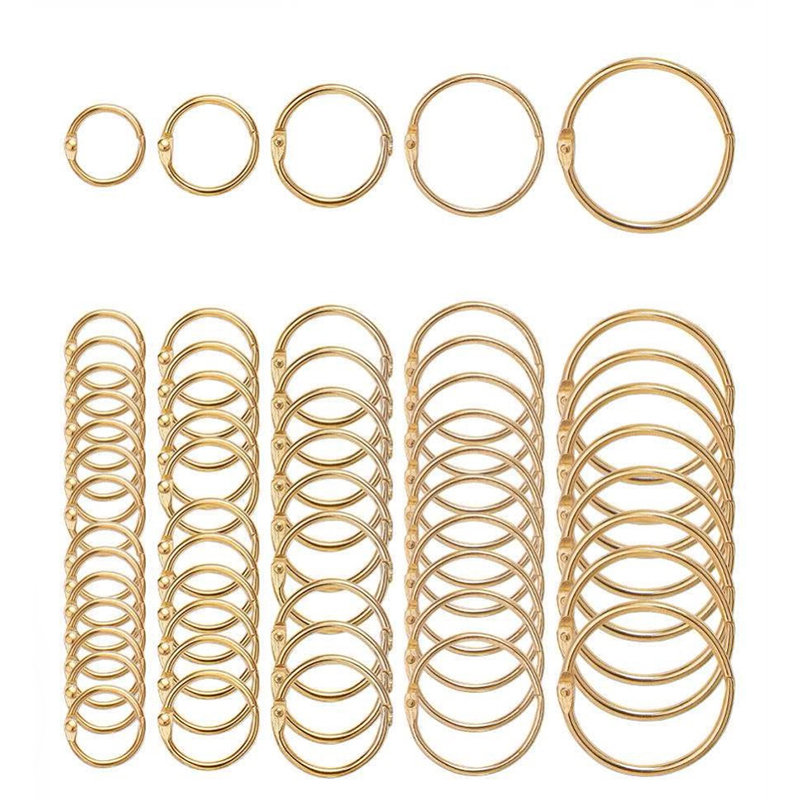 5Pcs Metal Notebook Rings Gold Binder Hinged Ring School Loose Leaf Opening Circle Hoops For Scrapbook Album Office Binding Ring