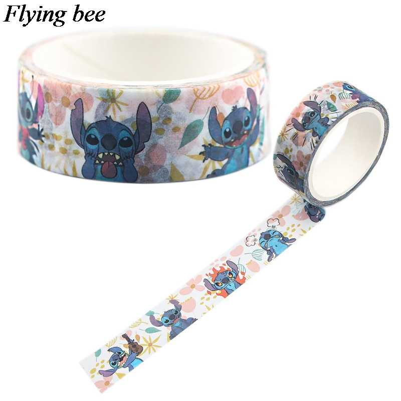 Flyingbee 15 Mm X 5 M Kertas Washi Tape Lucu Stilch Pita Perekat DIY Kartun Lucu Scrapbooking Stiker Label Masking tape X0556
