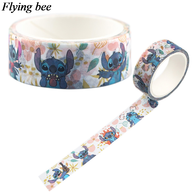 Flyingbee 15mmX5m Paper Washi Tape Funny Stilch Adhesive Tape DIY Cartoon Cute Scrapbooking Sticker Label Masking Tape X0556