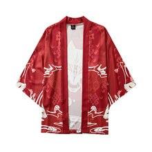 Cinq points manches Kimono traditionnel Yukata Kimono Cardigan hommes vêtements asiatiques plage mince manteau décontracté Cardigan chemises japon