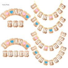 Twins 1st 2nd 3rd Birthday Banner I Am One Two Three Kraft Paper Boy Girl Party Decoration First