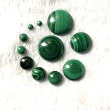 Натуральный Малахит Бусины кабошон 4,6, 10 12 мм 16 мм 20 мм круглый украшение с жемчугом кабошон для кольца, на плоской подошве, 2 шт./лот