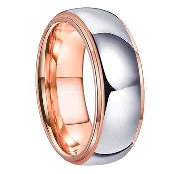 Tungsten 6mm Domed Siler Wedding Ring Rose Gold Lining 6