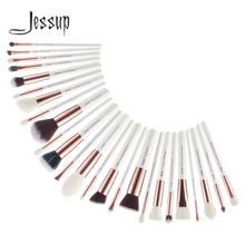 Jessup Pearl White/Rose Gold Professional Makeup Brushes Set Make up Brush Tools kit Foundation Powder Blushes T215 jessup black silver professional makeup brushes set make up brush tools kit foundation powder blushes natural synthetic hair