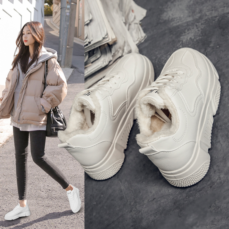 Womens Sneakers White Shoes Women's Shoes With Platform Tennis Female Woman Thick Summer Fashion Trainers Winter Cotton Fabric