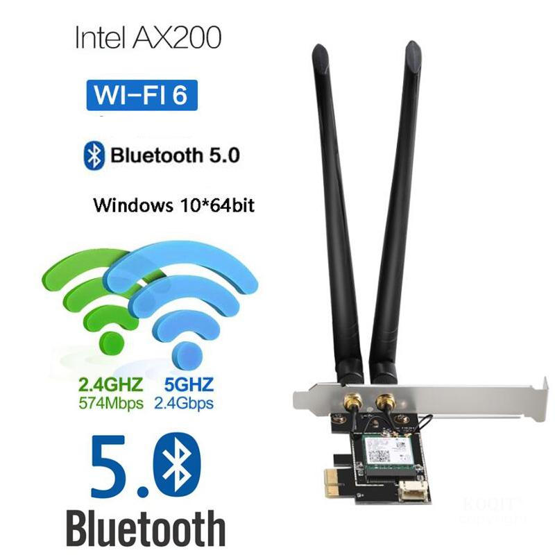 3000Mbps Dual Band 2.4G/5G <font><b>802.11ax</b></font> PCIE Wireless Wlan WiFi Network Card Adapter Wifi 6 AX200NGW for Desktop With BT 5.0 MU-MIMO image