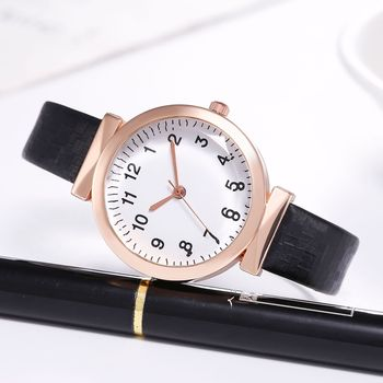 Women Watch Fashion All-match Glass Mirror Leather Strap Arabic Digital reloj mujer Casual часы женские